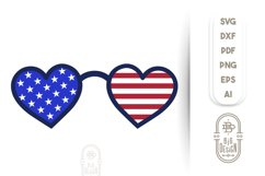 Heart Sunglasses and USA Flag Reflection - 4th of July SVG Product Image 2