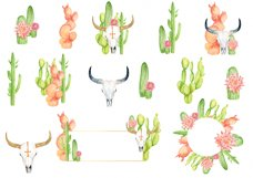 Watercolor cactus and longhorns clipart Product Image 2