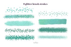 Emerald brush strokes clipart, green watercolor PNG elements Product Image 3
