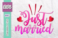 Just Married Wedding Sign Newlyweds Sublimation Print File Product Image 1