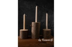 Zero waste concept eco natural wooden stump candle holders Product Image 1