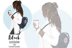 Coffee Girl Fashion Illustration, School Backpack Clipart Product Image 2