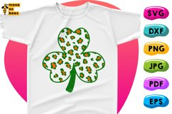 Funny Clover Svg Leopard Print in Irish Flag Colors Shamrock Product Image 1