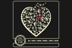 Dandelion Wish Love Heart Graphic SVG Cut File Product Image 1