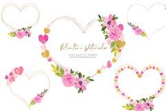 Heart Floral Pink Gold Frame Clipart, Geometric Heart Product Image 4