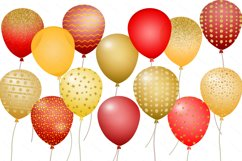 Balloons Clipart - Gold and Red Glitter and Foils Product Image 2