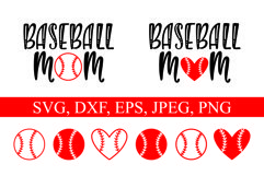 Baseball Mom and ball silhouettes. Hand drawn typography design. SVG DXF PNG EPS Cutting Files Product Image 3