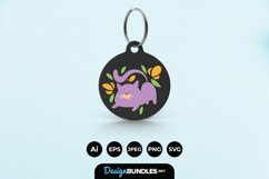 Cat and Flowers Keychain Product Image 1