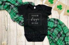 2 Image St. Patricks Baby Bodysuit Mockup Black Clover Product Image 1