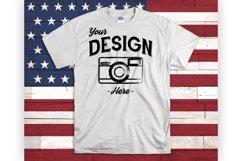 July 4th Mockup White Shirt USA Mock Up American Flag Product Image 1