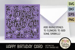Floral Happy Birthday Card SVG - Birthday Card Cutting Files Product Image 2