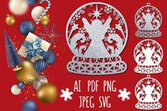 Christmas snow ball monogram with angel Product Image 1