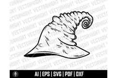 Witch Hat Clipart SVG, Wizard Hat Shape Ai, Eps, Pdf, Dxf. Product Image 4