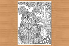 Cat coloring page, adult coloring, hand-drawn Product Image 1