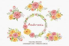 Ambrosia - Digital Watercolor Floral Flower Style Clipart Product Image 3