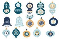 Blue Christmas Ornaments, Balls, Baubles, Bells Clip Art Set Product Image 4