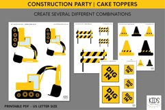 Construction party cake topper, birthday party printables Product Image 2
