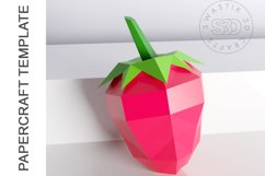 PDF Template of 3d Strawberry fruit papercraft /lowpoly SVG Product Image 2