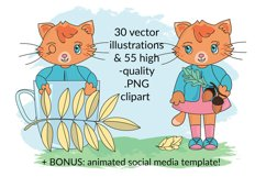 CUTE AUTUMN KITTY Clipart Pattern Alphabet Vector Animation Product Image 3