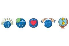 Global icon set, cartoon style Product Image 1