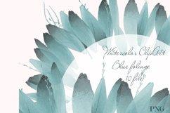 Blue foliage clipart Set Watercolor border Product Image 1