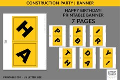 Construction party printable HAPPY BIRTHDAY banner Product Image 3