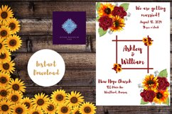 Sunflowers and Red Roses Wedding Invitation Product Image 2