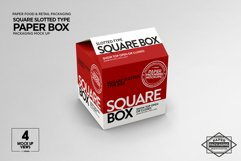 Square Slotted-Type Paper Box Packaging Mockup Product Image 4