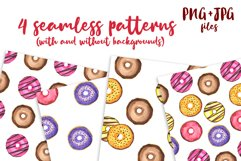 Donuts Watercolor mini Set. Clipart Product Image 3