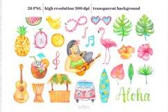 Watercolor Hawaii Clipart, Summer Island Beach, Aloha, PNG Product Image 2