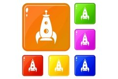 Rocket futuristic icons set vector color Product Image 1