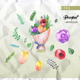 Flowers Watercolor Wreath & Bouquets, Roses, Hydrangeas Product Image 2