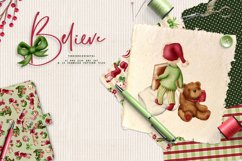 Children Christmas Clipart and Pattern seamless paper tiles. Product Image 1