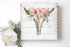 PINK ROSE FLORAL BULL SKULL - PNG Product Image 1