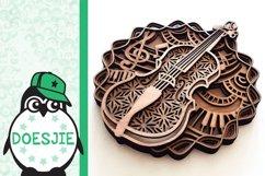 Violin SVG layered mandala music instrument 3D fiddle Product Image 5