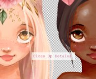 Cute girls. Pink clipart Product Image 3