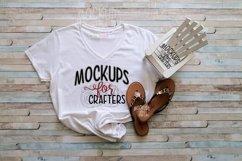 MOCK-UP - Woman's Gildan V-neck - summer theme Product Image 1