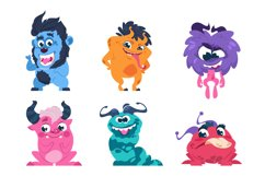 Cartoon monsters. Funny and scary trolls ghosts goblins and Product Image 1