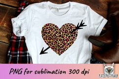 Valentine's day sublimation design, leopard heart with arrow Product Image 1
