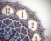 C18 - Laser Cut Wall Clock DXF, Mandala Clock, Wooden Clock Product Image 5