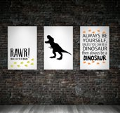 Dinosaur SET of wall art Prints Printable Dinosaur themed bedroom print Boys bedroom baby boy dinosaur nursery dinosaur quote home decor Product Image 1