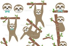 Sloth Boy Digital papers and Sloth Clipart SET, Sloth Party Animal for Birthday, Baby Shower, baptism Scrapbooking, Planner Product Image 2