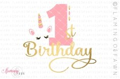 1st Birthday Unicorn svg cut file Product Image 1