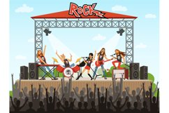 Rock band on stage. People on concert. Music performance. Ve Product Image 1