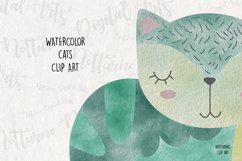 Watercolor Cat Clipart. Set of 10 png digital clipart Product Image 2