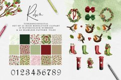 Christmas Robin Clipart and seamless patterned paper tiles Product Image 1