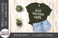 Bella Canvas 3001 Woman's T Shirt Mockup, Dark Olive, Green Product Image 1