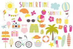Summertime set, clipart and papers Product Image 1