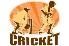 cricket player batsman batting retro Product Image 1