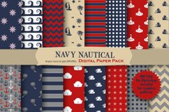 Navy Nautical Pattern Digital Paper Product Image 1